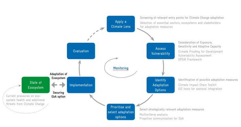 EbA Mainstreaming Cycle, EbA components and respective tools.png