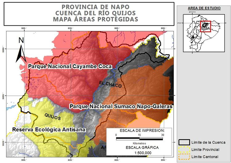 Geographic distribution of conservation areas in Quijos.jpg