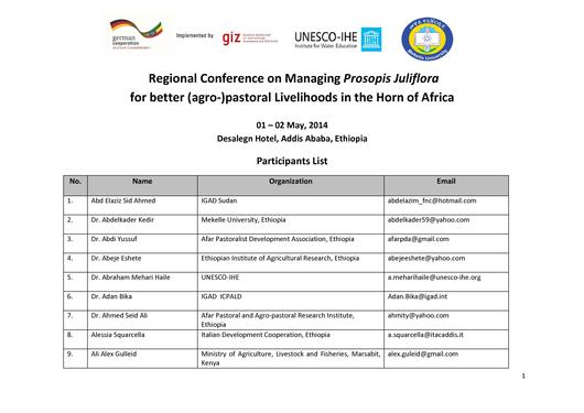file conference prosopis juliflora addis abeba may2014 participants