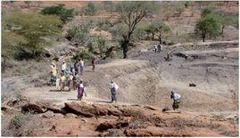 Construction of a small earth dam in Zambia with communal action
